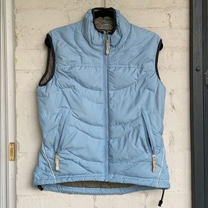 REI down filled vest light blue size small